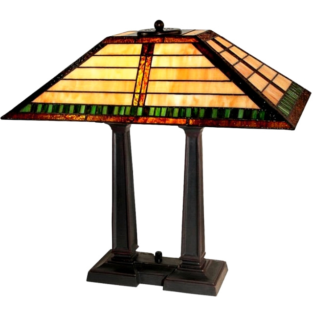 Craftsman Mission Tiffany Stained Glass Table Lamp