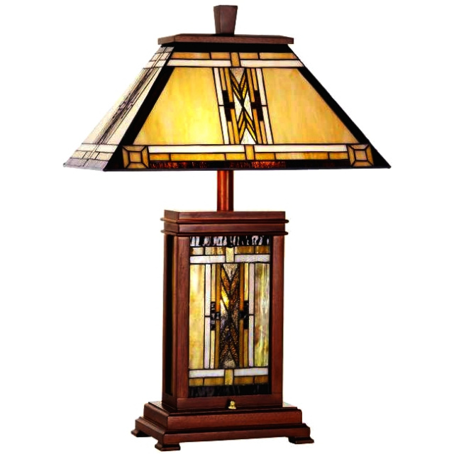 Table lamps mission lamps tiffany lamps stained glass mission craftsman tiffany walnut table lamp aloadofball Image collections