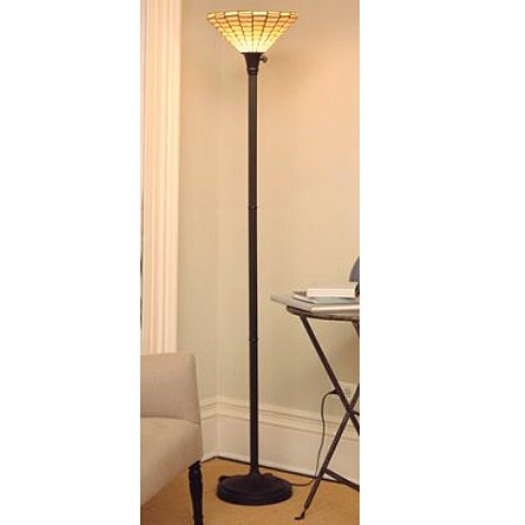 Tiffany Style Stained Gl Mission Torchiere Floor Lamp