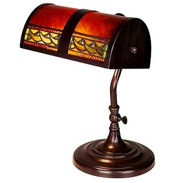 Arts Crafts Stained Gl Bankers Desk Lamp