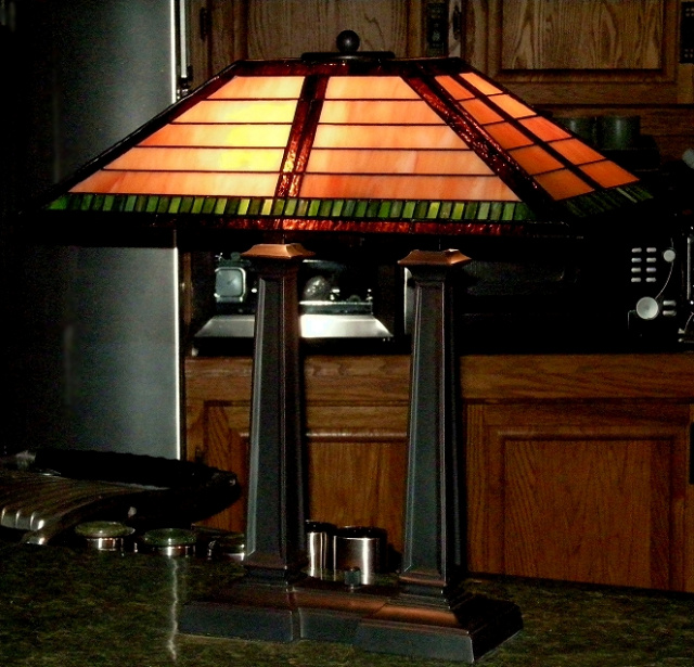 Craftsman Mission Tiffany Stained Gl Desk Lamp