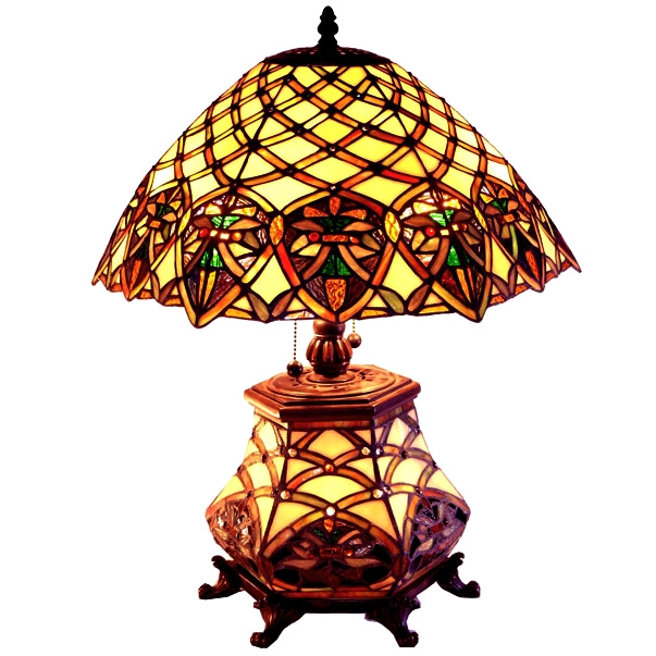Stained Gl Tiffany Table Lamp W Lighted Base